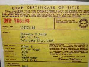 Registration for Bundy's car